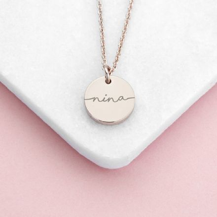 Personalised Rose Gold Plated Disc Necklace